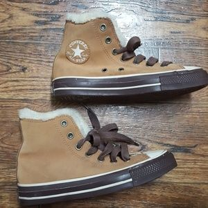 RARE Converse Suede Leather Shearling High Tops